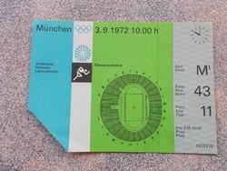 Olympia 1972.,Munchen, belépo jegy