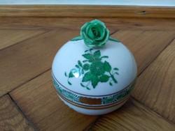 Herendi zöld Apponyi bonbonier rózsa fogóval
