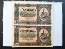 1920-as 20 Korona 2 DB sorszámkövető sorszámközött pont !! R