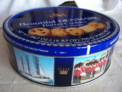 Nagyméretű kerek kekszes doboz (70 deka fér bele)