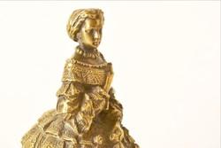 Bronz szobor cselédcsengő Hölgy lornyonnal barokk öltözékben