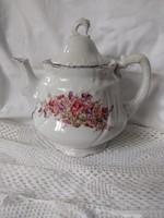 Jelzetlen antik kézzel festett ibolyamintás teás kanna ezüst peremmel