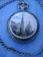 Luxus porcelán kép díszítéses zsebóra új, nem használt, kiváló ajándék lehet