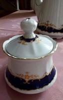 Német porcelán bonbonier, cukortartó, 7 cm magas