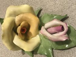 Aquincumi porcelán rózsa, kézzel festett, sorszámozott
