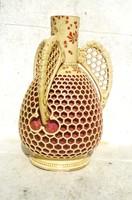 Zsolnay 3 füles méhsejt váza, 1880-as évekből