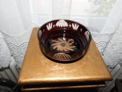 Bordó csiszolt kristály asztalközép - kristálytál