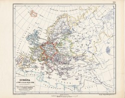 Európa térkép 1718, kiadva 1913, eredeti, teljes atlasz, Kogutowicz Manó, történelem, történelmi