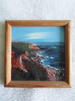Sziklás tengerpart, miniatűr festett kép keretben