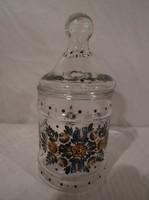 Osztrák kézzel festett gyönyörű üveg  17 x 8 cm 4 dl