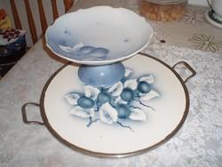 Gyönyörű art deco porcelán kínálótál tálcával