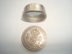 1948 as ezüst angol shillingből  készített férfi gyűrű....