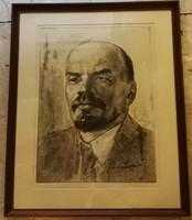 Lenin portré régi szignált rézkarc