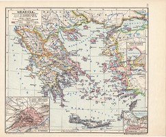 Graecia térkép, Görögország, kiadva 1913, eredeti, atlasz, történelmi, Kogutowicz Manó, Athen, régi