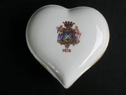 Drasche porcelán szív alakú bonbonier PÉCS címerével