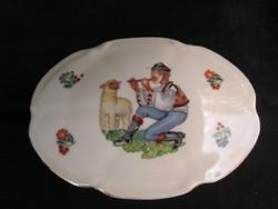 Drasche porcelán bonbonier furulyázó juhász