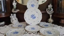 Kék rózsás herendi süteményes készlet