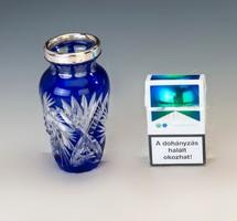 Ezüst szájú kék kristályváza