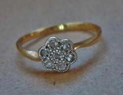 Szép antik 18kt-os arany gyűrű gyémántokkal Akció!!!
