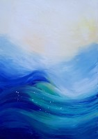 Türkiz hullámok, olajfestmény, 50x70cm