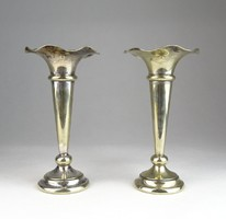 0T568 Antik ezüstözött angol váza pár 14 cm
