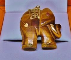 Egyedi régi arany-tigrisszem elefánt rubin szemmel