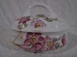 Porcelán - JELZETT -  Antik Francia bonbonier különleges tál alakú 13 x 12 x 10 cm gyönyörű hibátlan