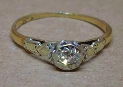 Szépen megőrzött antik arany platina gyűrű valódi 0.1ct brill kővel