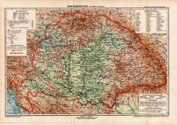 Magyarország politikai térkép 1902, eredeti, atlasz, Kogutowicz Manó, régi, magyar nyelvű