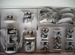 Szász Endre hollóházi porcelán kávéskészlet (halas, Adria)