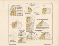 Térkép projekciók, színes nyomat 1913, térképészet, eredeti, térkép, projekció, nézet