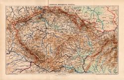 Csehország, Morvaország, Szilézia térkép 1902, eredeti, atlasz, Kogutowicz Manó, régi, magyar nyelvű