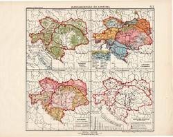 Osztrák - Magyar Monarchia erdőségek, nyelvek, népsűrűség, helységek eloszlása térkép (ek) 1913
