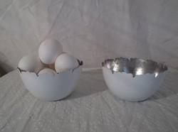 Fém hófehér - belül ezüst - nagy -  tojáshéj alakú tojástartó - vagy kaspó