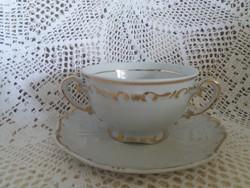 Antik Zsolnay barokk stafír leveses csészék, kétfüles csészék