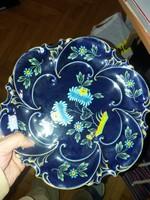 Erősen jelzett Ilmenau kobalt aranyozott porcelán tál, látványosan jó formában, vitrinből