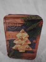 Kicsi karácsonyi fémdoboz 9 x 6 x 4 cm tökéletes állapotban