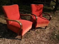Szép hajlított bükkfa vázas epeda rugós art deco fotel potom áron elvihetők - áthúzandók