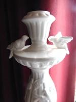 Kerti madáritató kismadarakkal - gyertyatartó finom porcelánból