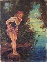 ILLENCZ LIPÓT (1882-1950) Fiatal lány a vizparton