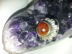 Antik Ezüst Borostyánköves Gyűrű