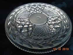 1250 g Kristály kerek torta tál virág mintával,aprólékos csiszolatokkal-27,5x1,5 cm