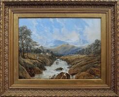 Edgar E. West Norvégia hegyei között vízesés akvarell