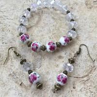 Rózsa mintás porcelán gyöngy vintage ékszer: karkötő és fülbevaló