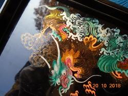 Sárkányos kézzel festett aranyozott kínai lakk tálca-27x14,5x2 cm