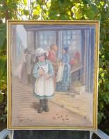 Kislány könyvvel - Nagyméretű olaj vászon festmény