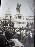 STROBL ALAJOS 1906 SZENT ISTVÁN KIRÁLY LOVAS SZOBOR FELAVATÁS BUDA VÁRNEGYED FOTÓ LAP