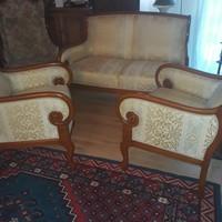 Antik stilusu körtefa  Villa Borghese empire szalongarnitura,kanapé 2 fotel