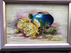 Asztali csendélet, Hofbaüer jelzéssel, Olaj festmény