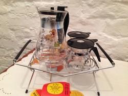 Retro PYREX 4 darabos teás , kávés kiöntő készlet .